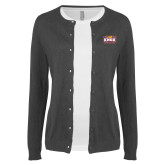 Ladies Charcoal Cardigan-Prairie Fire Logo