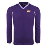 Colorblock V Neck Purple/White Raglan Windshirt-Prairie Fire Logo