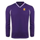 Colorblock V Neck Purple/White Raglan Windshirt-K