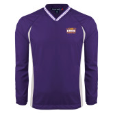 Colorblock V Neck Purple/White Raglan Windshirt-Prairie Fire Logo