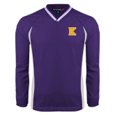 Colorblock V Neck Purple/White Raglan Windshirt-K