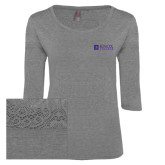 Ladies Grey Heather Tri Blend Lace 3/4 Sleeve Tee-Institutional Logo