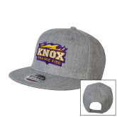 Heather Grey Wool Blend Flat Bill Snapback Hat-Prairie Fire Logo