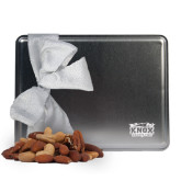Deluxe Nut Medley Silver Large Tin-Prairie Fire Logo Engraved