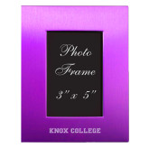 Purple Brushed Aluminum 3 x 5 Photo Frame-Knox College Flat Engraved