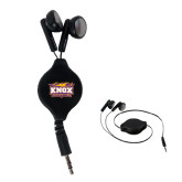 Black Retractable Ear Buds-Prairie Fire Logo