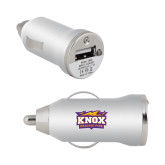 On the Go Silver Car Charger-Prairie Fire Logo