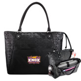 Sophia Checkpoint Friendly Black Compu Tote-Prairie Fire Logo