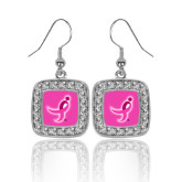 Crystal Studded Square Pendant Silver Dangle Earrings-Ribbon