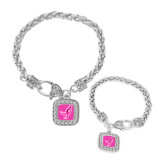 Silver Braided Rope Bracelet With Crystal Studded Square Pendant-Ribbon