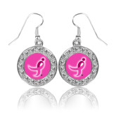 Crystal Studded Round Pendant Silver Dangle Earrings-Ribbon