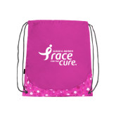 Nylon Pink Bubble Patterned Drawstring Backpack-Susan G. Komen Race for the Cure