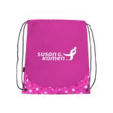 Nylon Pink Bubble Patterned Drawstring Backpack-Susan G. Komen