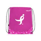 Nylon Pink Bubble Patterned Drawstring Backpack-Ribbon