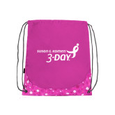 Nylon Pink Bubble Patterned Drawstring Backpack-Susan G. Komen 3-Day