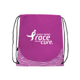 Nylon Zebra Pink/White Patterned Drawstring Backpack-Susan G. Komen Race for the Cure