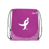 Nylon Zebra Pink/White Patterned Drawstring Backpack-Ribbon