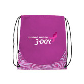 Nylon Zebra Pink/White Patterned Drawstring Backpack-Susan G. Komen 3-Day