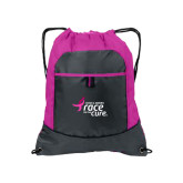 Nylon Pink Raspberry/Deep Smoke Pocket Drawstring Backpack-Susan G. Komen Race for the Cure