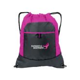 Nylon Pink Raspberry/Deep Smoke Pocket Drawstring Backpack-Susan G. Komen