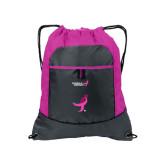 Nylon Pink Raspberry/Deep Smoke Pocket Drawstring Backpack-Ribbon