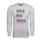 White Long Sleeve T Shirt-Walk Run Finish