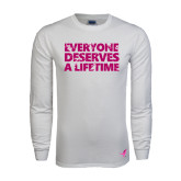 White Long Sleeve T Shirt-Everyone Deserves A Lifetime - Splatter