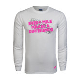White Long Sleeve T Shirt-Every Mile Makes A Difference