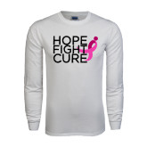 White Long Sleeve T Shirt-Hope Fight Cure