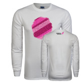 White Long Sleeve T Shirt-I Am More Than Pink Halftone Splash