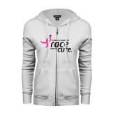 ENZA Ladies White Fleece Full Zip Hoodie-Susan G. Komen Race for the Cure