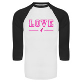 White/Black Raglan Baseball T-Shirt-LOVE