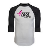 White/Black Raglan Baseball T-Shirt-Susan G. Komen Race for the Cure