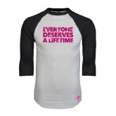 White/Black Raglan Baseball T-Shirt-Everyone Deserves A Lifetime - Splatter