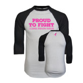 White/Black Raglan Baseball T-Shirt-Proud To Fight