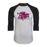 White/Black Raglan Baseball T-Shirt-Pretty Feet Dont Make History - Splatter