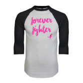 White/Black Raglan Baseball T-Shirt-Forever Fighter