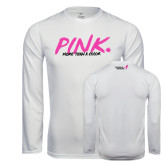 Performance White Longsleeve Shirt-Pink More Than A Color