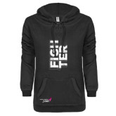 ENZA Ladies Black V-Notch Raw Edge Fleece Hoodie-Fighter