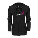 ENZA Ladies Black Light Weight Fleece Full Zip Hoodie-Susan G. Komen 3-Day