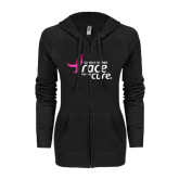 ENZA Ladies Black Light Weight Fleece Full Zip Hoodie-Susan G. Komen Race for the Cure
