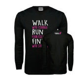 Black Long Sleeve TShirt-Walk Run Finish