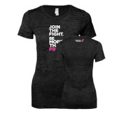 Next Level Ladies Junior Fit Black Burnout Tee-Join The Fight.