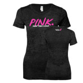 Next Level Ladies Junior Fit Black Burnout Tee-Pink More Than A Color