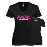 Next Level Ladies Junior Fit Deep V Black Tee-Pink More Than A Color