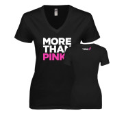Next Level Ladies Junior Fit Deep V Black Tee-More Than Pink