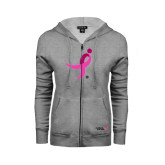 ENZA Ladies Grey Fleece Full Zip Hoodie-Ribbon