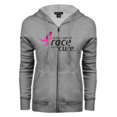 ENZA Ladies Grey Fleece Full Zip Hoodie-Susan G. Komen Race for the Cure