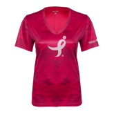 Ladies Pink Raspberry Camohex Performance Tee-Ribbon