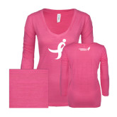 ENZA Ladies Hot Pink Long Sleeve V Neck Tee-Ribbon